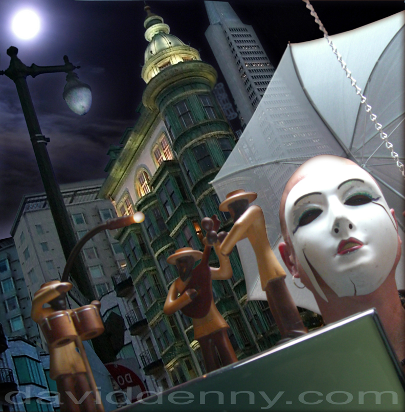 san francisco night time surreal tall buildings with moon